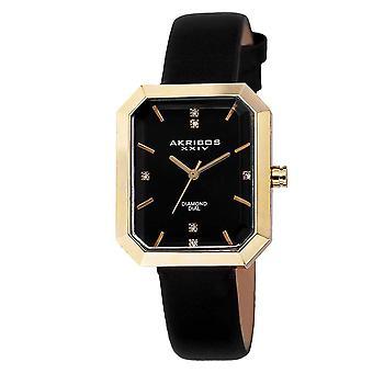 Akribos XXIV Frauen Schweizer Quartz Genuine Diamond Leder-Strap Watch AK749BK