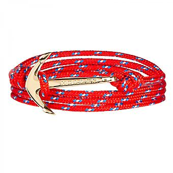 Holler Mosley  Gold Polished Anchor /  Red, Blue and White Paracord Bracelet HLB-02GDP-P02