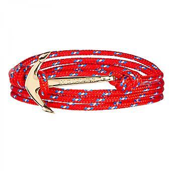 Holler Mosley zlato leštené kotvy/červená, modrá a biela Paracord náramok HLB-02GDP-P02