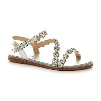 Ajvani Womens low heel strappy diamante pearl buckle summer sandals