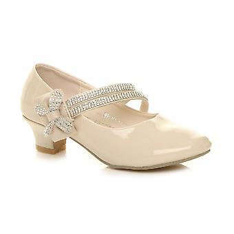 Ajvani Mädchen low heel strap Schleife Brautjungfer Partei formale Schuhe