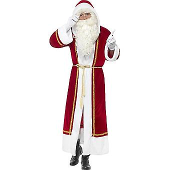 Deluxe Santa mantel, Kerstmis volwassen fancy dress, tot 44
