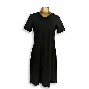 Denim & Co. Dress Short Sleeve Straight Hem Black A307113