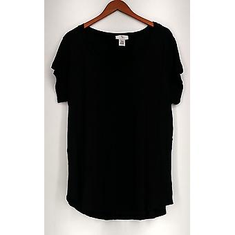 OSO Casuals Top Short Sleeve Knit Lace Up Back Black Womens A408363