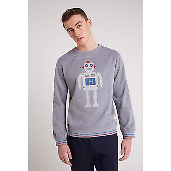 Hymn Robot Embroidered Sweater Grey Marl