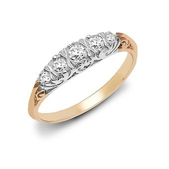 Jewelco London Ladies Solid 9ct Yellow Gold Bar Set Round H I2 0.26ct Diamond 5 Stone Half Eternity Ring 4mm