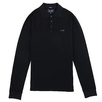 Armani Jeans AJ Eagle Logo A maniche lunghe Polo Camicia Nero