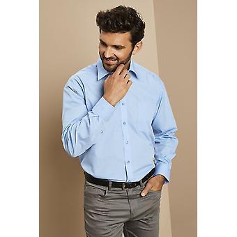 Simon Jersey Polycotton Long Sleeve Semi-Cutaway Collar Shirt
