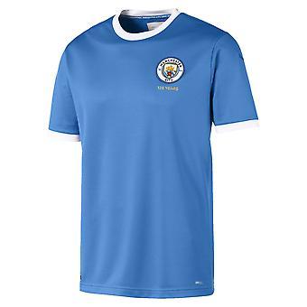 Puma Manchester City 125 ano anniversary Mens manga curta camisa de futebol azul