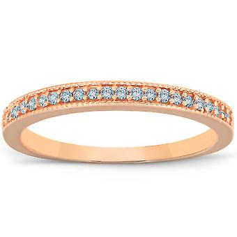 1/4ct Filigree Diamond Ring 14K Rose Gold