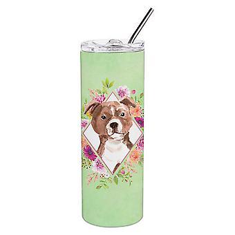 Staffie Bull Terrier grüne Blumen Doppel wandbemauert Edelstahl 20 oz Skinny Tu