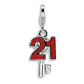 925 סטרלינג סילבר מלוטש מצופה מוצק לובסטר הסגר 3 d אמייל 21 ואת המפתח עם אבזם לובסטר הקסם