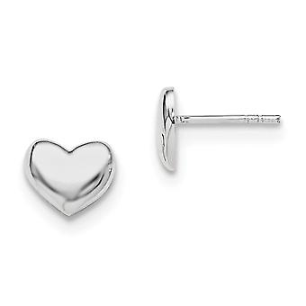925 Sterling Silver Open back Polished Heart Post Earrings - 1.4 Grams