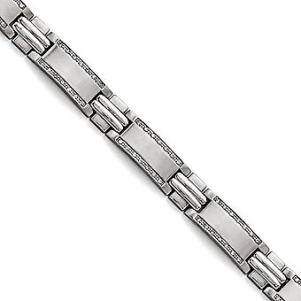 Stainless Steel Polished Brushed 1ct Tw. Diamond Bracelet 8.5 Inch Jewelry Gifts for Women