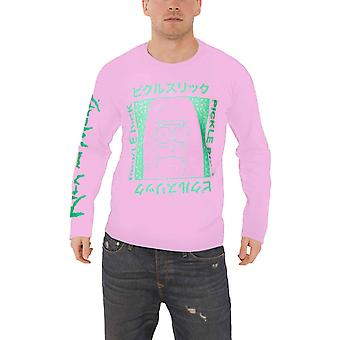 Rick and Morty T Shirt Japanese Pickle Rick Logo Official Mens Pink Long Sleeve