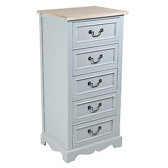 Charles Bentley Grey Loxley Vintage Solid Wood Chest Of Drawers 5 Drawer Tallboy