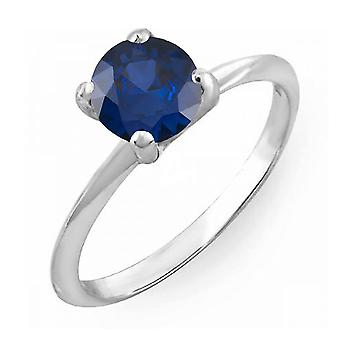 Dazzlingrock Collection 14K 4 MM Round Cut Blue Sapphire Ladies Solitaire Bridal Engagement Ring, White Gold