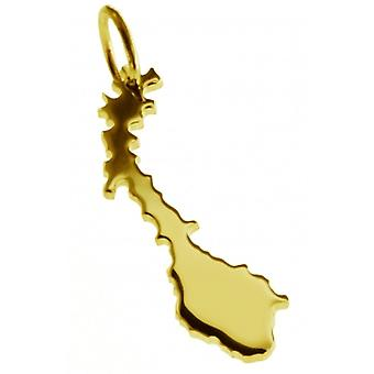 Pendentif de chaîne de carte en or jaune-or sous la forme de NORWAY
