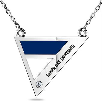 Tampa Bay Lightning Engraved Sterling Silver Diamond Geometric Necklace In Blue & White