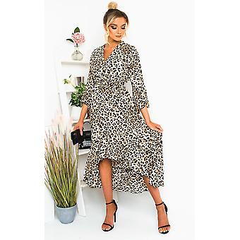 IKRUSH Womens Gigi Printed Frill Maxi Dress