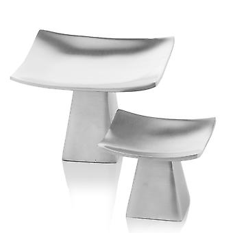 "6"" x 6"" x 4"" Matte Silver Pedestal Candle Holders Set de 2"