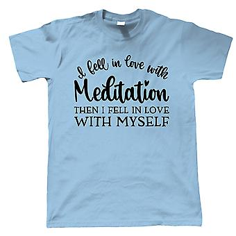 In Love With Meditation Mens T-Shirt | Meditate Meditation Peace Calm Quiet Mind Spirit | Zen Relax Mindful Contemplate Healing Silence | Meditation Gift Him Dad