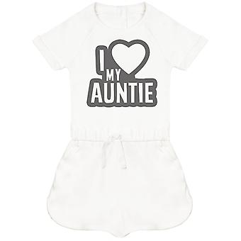 I Love My Auntie Black Outline Baby Playsuit