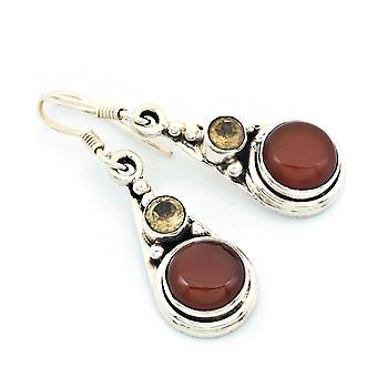 Karneol Ohrringe 925 Silber Sterlingsilber Ohrhänger orange rot (KLE-OH-195)