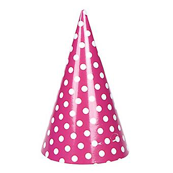 TRIXES 6PC Pack Hot Pink Party Hats with Elastic