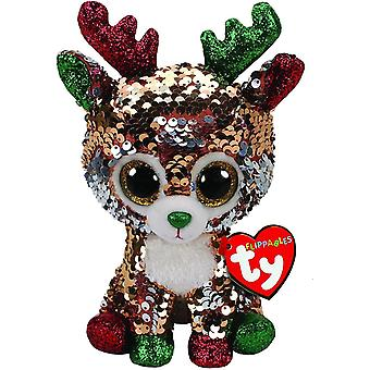 TY Flippable Sequins Tegan The Reindeer Small Beanie Boo