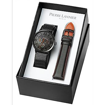 Pierre Lannier 371D439 - FFBB Watch Bo tier steel black steel dial grey milanese leather black leather black and orange Men