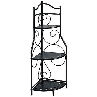 Heine home decorative metal corner shelf 3 shelves filigree embellishments black approx. 95/30/30 cm