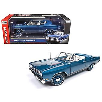 1969 Plymouth GTX Convertible Jamaican Blue Poly Limited Edition a 1002pcs 1/18 Diecast Model Car di Autoworld