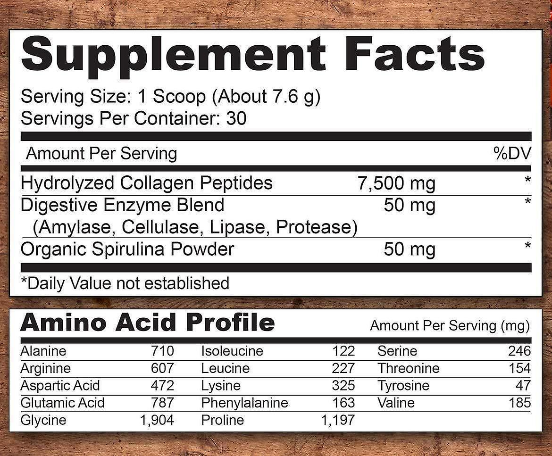 Collagen peptides powder with digestive enzymes & spirulina
