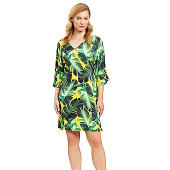 Féraud 3205089-16081 Women's Green Leaves Beach Dress