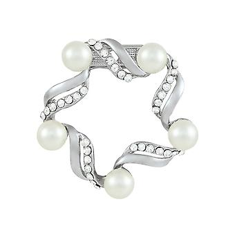 Eternal Collection Garland Pearl And Clear Crystal Scarf Clip