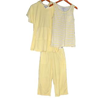 Carole Hochman Women's Pyjama Set Garden Side Stripe Terry Yellow A286848
