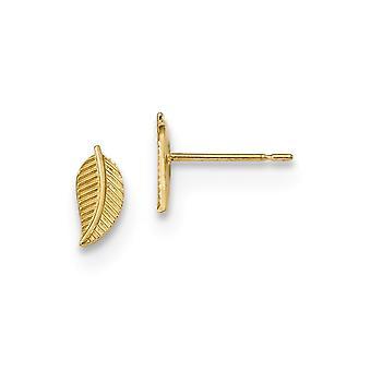 3.65mm 14k Madi K Kids Leaf Post Örhängen Smycken Gåvor för kvinnor - 0,5 gram