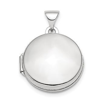 925 Sterling Silver Rhodium plated Polished Domed 16mm Round Photo Locket Pendant Necklace Jewelry Gifts for Women