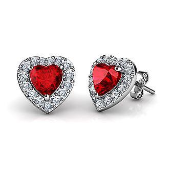 Dephini red heart earrings - 925 sterling silver heart stud cz crystal