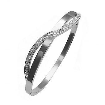 VIP Silver Plated Polished Crystal Wave Bangle