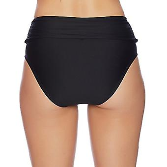 Athena - Hey There Stud Fold Over High Waist Bikini Bottom, Black, Size 12.0