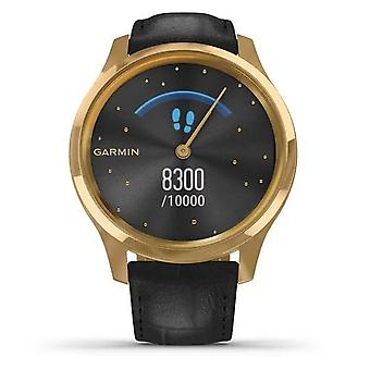 Garmin Watches 010-02241-02 Vivomove Luxe 24k Gold Pvd Stainless Steel With Black Embossed Italian Leather Watch