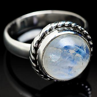 Rainbow Moonstone Ring Size 5.5 (925 Sterling Silver)  - Handmade Boho Vintage Jewelry RING3735