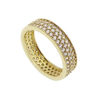 Christian yellow gold ring with zirconia