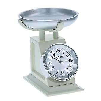 Miniature Cream Kitchen Weighing Scales Ornament Novelty Collectors Clock 9711