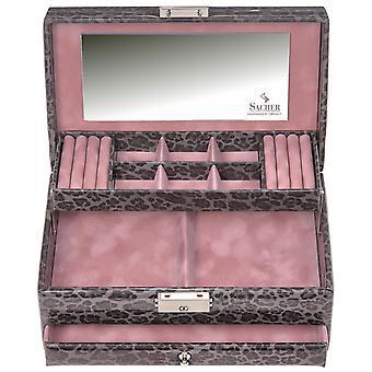 Sacher jewelry case jewelry box ANIMAL grey pink castle mirror
