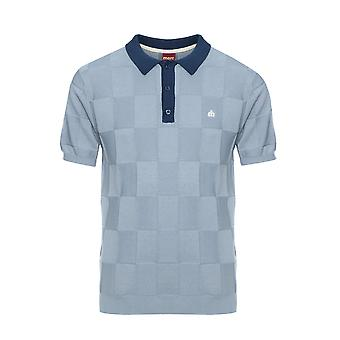 Batley Textured Check Knitted Polo Shirt