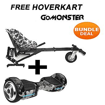 "6.5"" G PRO Camo Bluetooth Hoverboard with Go Monster Hoverkart in Camo"