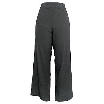Denim & Co. Women's Petite Pants Beach Pull On Wide Leg Knit Black A305632
